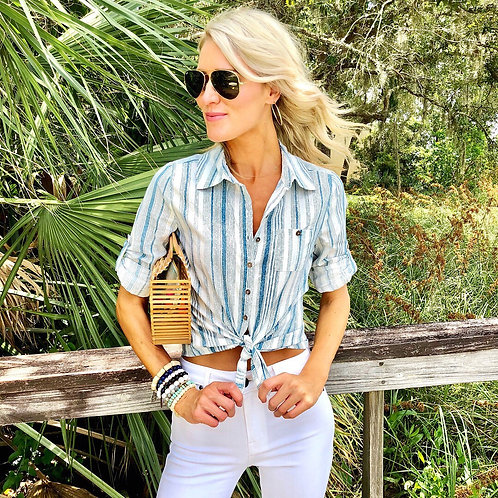 Beachy linen button down shirt