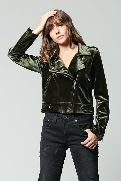 Velvet moto jacket: army green