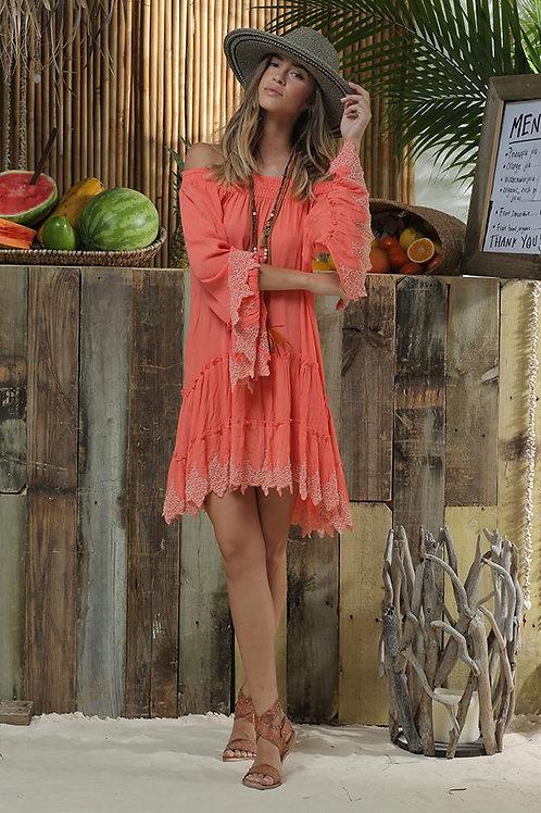 Coral off the shoulder dress by Z&L