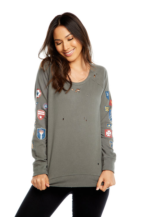 Military patch fleece pullover by Chaser