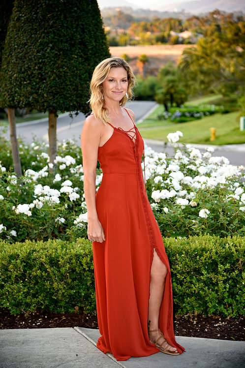 If by Sea Rust Red dress