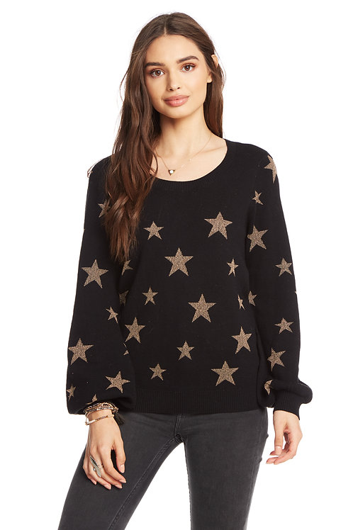 Blouson sleeve star sweater by Chaser