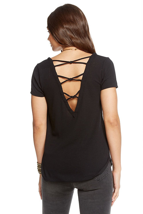 Chaser Vintage criss cross tee: Black