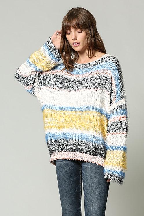 Oversized multi-color block sweater