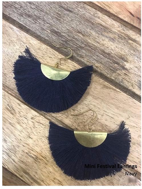 Mini Festival earrings: Navy
