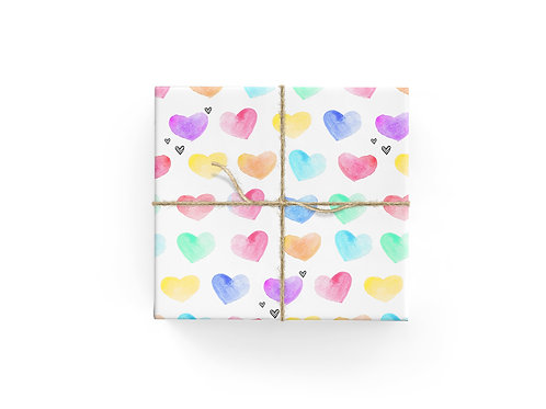 Wrapping Paper - Rainbow Hearts