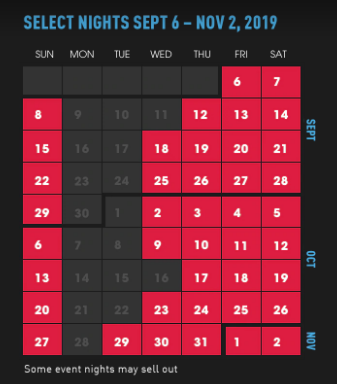 halloween horror nights 2019 datas calendario