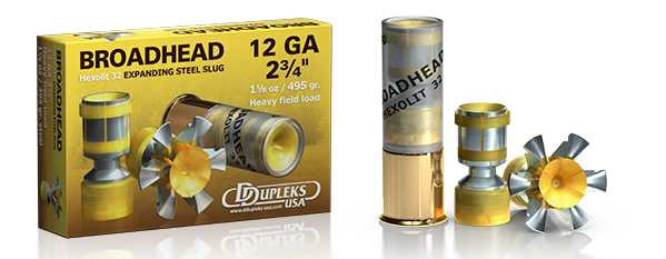 DDupleks USA Broadhead Hexolit 32 lead-free expanding and fragmenting steel shotgun slug ammunition