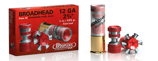 DDupleks USA Broadhead Dupo 28 lead-free expanding and fragmenting steel shotgun slug ammunition