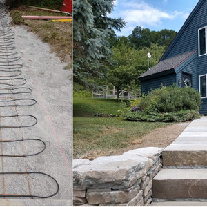 Snow melt mat installed under bluestone walk