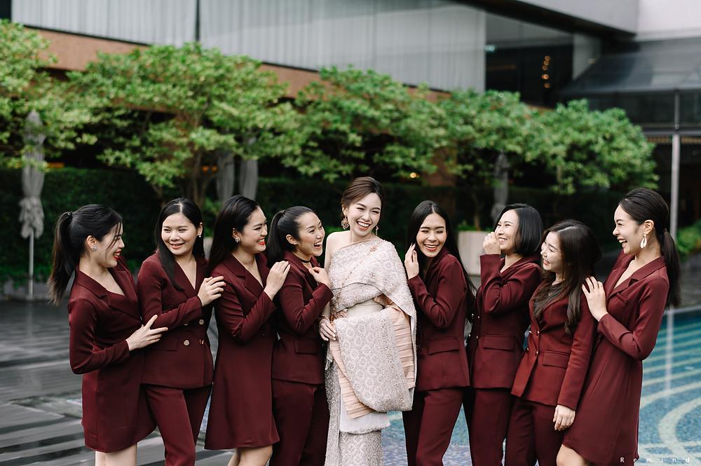 Burgundy-bridemaid