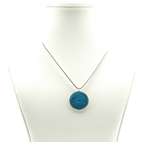 Sisal and Silver Choker (turquoise)