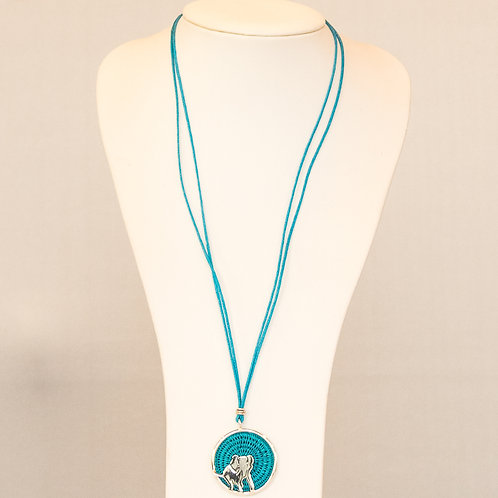 Sisal and Silver Elephant Necklace (turquoise)