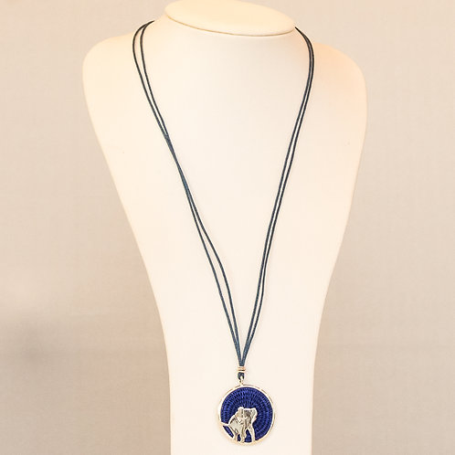 Sisal and Silver Elephant Necklace (navy)