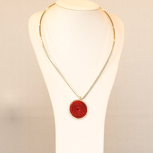 Sisal and Silver Choker (holly red)