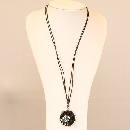 Sisal and Silver Elephant Necklace (black)