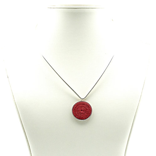 Sisal and Silver Choker (scarlet)