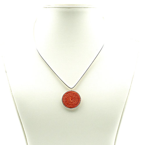Sisal and Silver Choker (coral)