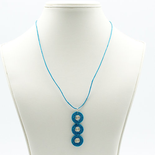 Sisal and Triple Disc Spiral Necklace -turquoise