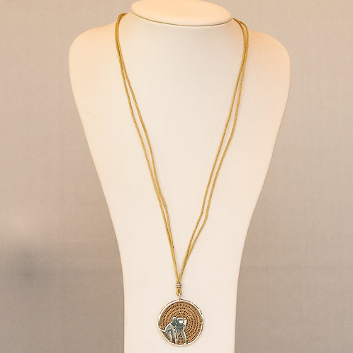Sisal and Silver Elephant Necklace (wheat)