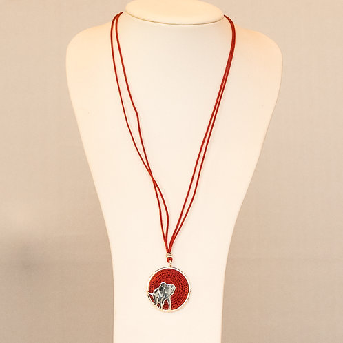 Sisal and Silver Elephant Necklace (holly red)