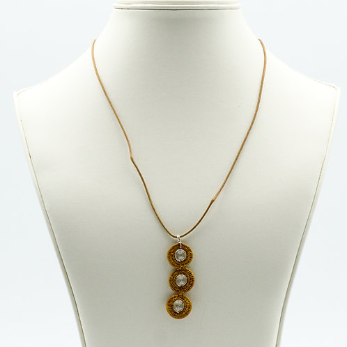 Sisal and Triple Disc Spiral Necklace -tobacco