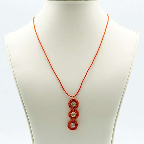 Sisal and Triple Disc Spiral Necklace - coral