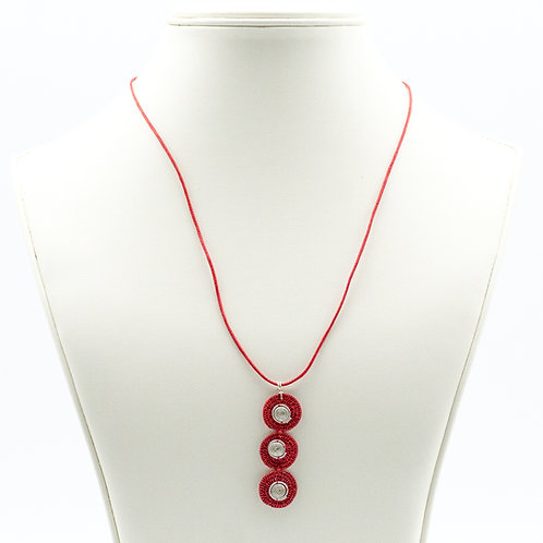 Sisal and Triple Disc Spiral Necklace - scarlet