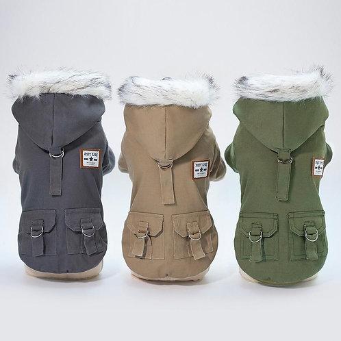 Winter Jacket Hooded Coat Fleece Padded