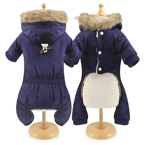 Horn Button Pet Winter Dog Jumpsuit Thickening