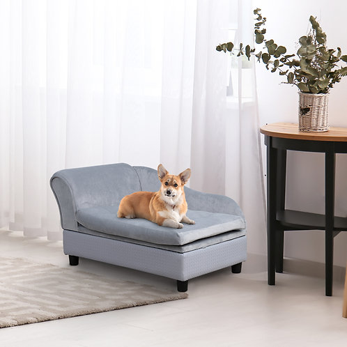 PawHut Pet Sofa Couch with Storage Function Sponge Cushioned Bed