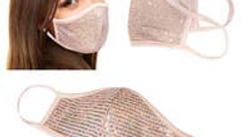 Blush colored sequin face mask
