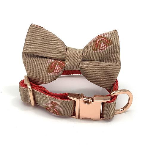 Champagne satin dog collar & bow tie set