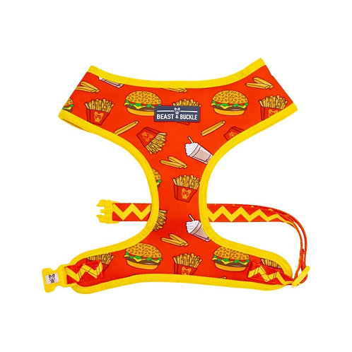 Beast and Buckle Hamburger and fries reversible harness