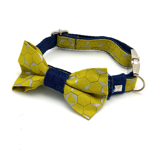 Mustard honeycomb denim dog collar & bow tie set