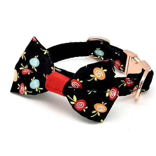 Black fruity collar & bow tie set