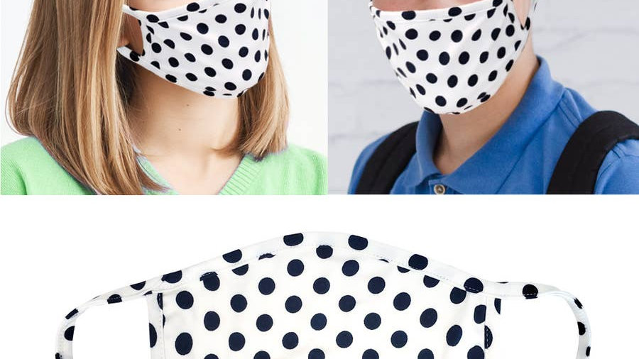 navy polka dot face mask