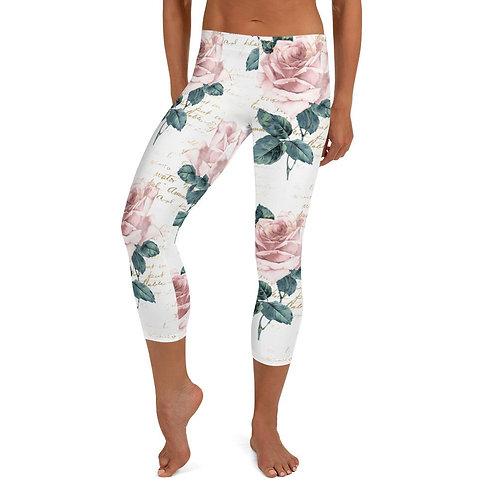 Pink Floral Capri Leggings