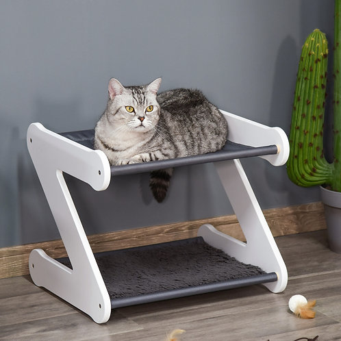 PawHut Two Tier Cat Bed for Indoor Pet Furniture with Padded and Plush