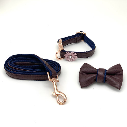 Burgundy & Navy leather bow tie