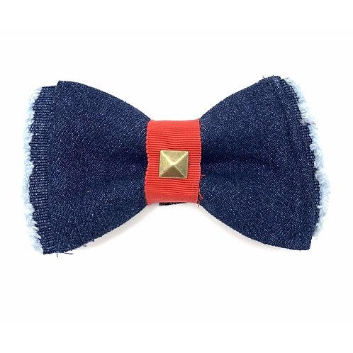 Frayed denim & red bow tie with bronze studs