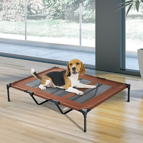 PawHut Elevated Breathable Dog Bed w/ Carry Bag Metal Frame Coffee