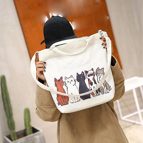 Fashion handbag women Cartoon Cats Printed Beach