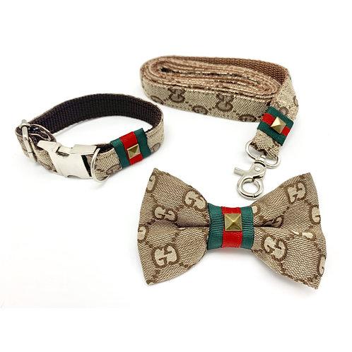 Luxury fashion designer monogram collar, bow tie and leash
