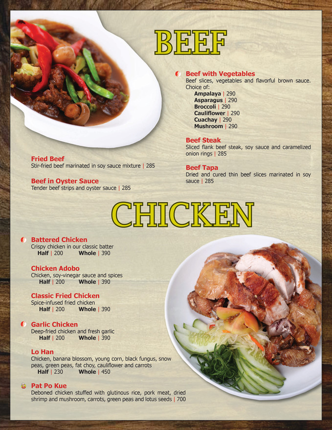 Menu Main - Main Course (Beef & Chicken)