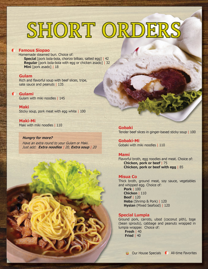 Menu Main - Short Orders