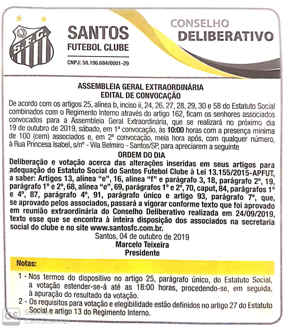 Santos terá Assembleia Geral em 19/10 para adequar Estatuto ao Profut