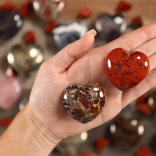 Poppy Jasper Puffy Heart