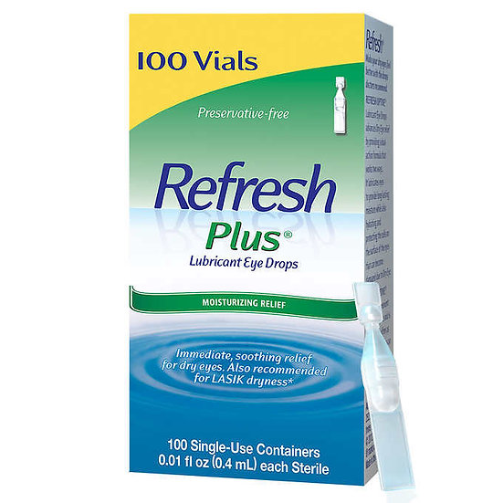 Refresh Plus Lubricant Eye Drops, 100 Single Use Containers