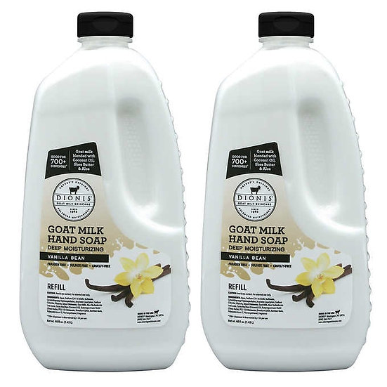 DIONIS Goat Milk Vanilla Bean Hand Soap Refill, 48 fl oz, 2-pack